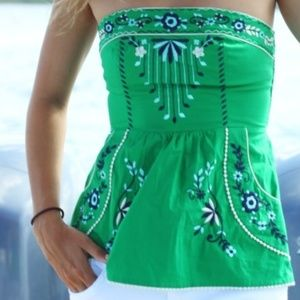 Green Grassland Embroidered Corset Top - LIKE NEW
